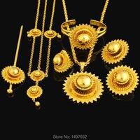 NOWY Duży rozmiar Etiopii zestawy biżuterii. złoty Kolor włosów zestawy biżuterii Afryki/Etiopii/Kenia Kobiet Prezenty dla Dziewczyn