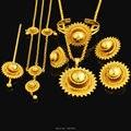 NUEVOS sistemas de la joyería de Gran tamaño de Etiopía. Chapado En oro de joyería fija el pelo Africano/Ethiopian/Kenia Mujeres Niñas Regalos
