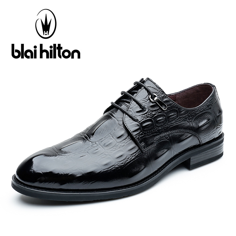 цена Blaibilton Elegant Formal Dress Men Shoes Oxford Genuine Leather Business Classic Office Wedding Mens Casual Alligator Patter онлайн в 2017 году