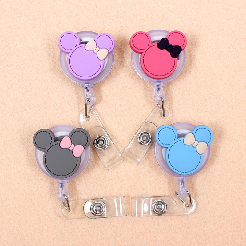 New Cartoon 60cm Silicone Mickey Bowknot Retractable Badge Reel Student Nurse Exhibition Enfermera Name Card ID Card Chest
