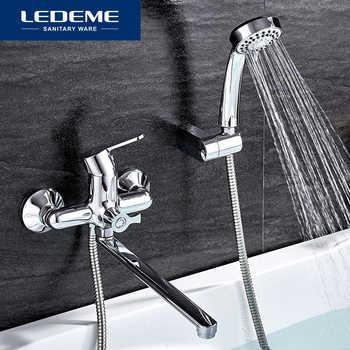 LEDEME Bathtub Faucets Set Hand Shower Head Bathroom Single Handle Chrome Plated Shower Bathtub Faucet Bath Faucet L2203 L2203W - DISCOUNT ITEM  40 OFF Home Improvement