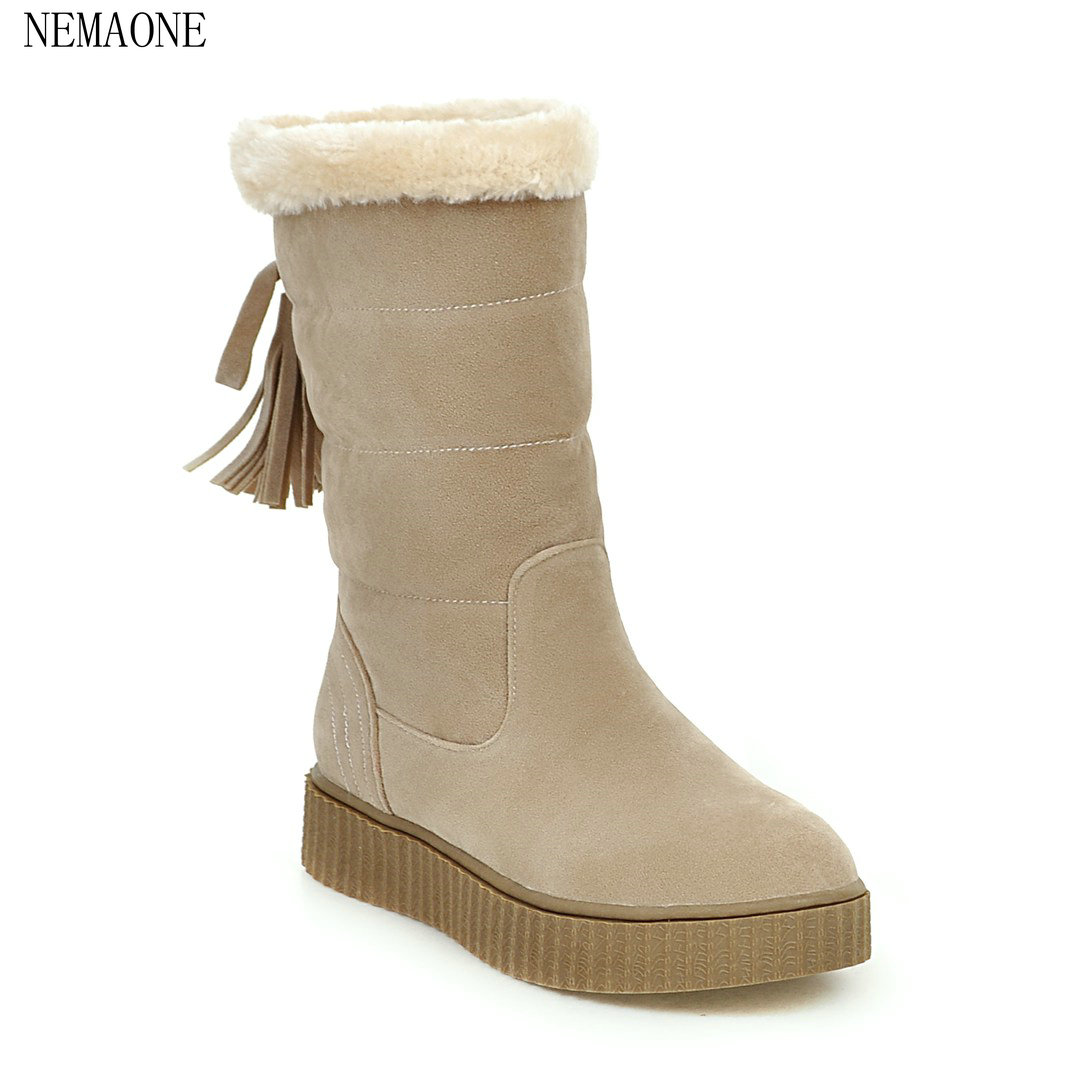 NEMAONE 2018 Women Mid Calf Boots Wedge Med Heel Round Toe Winter Shoes Women Snowflake Elastic band Ladies Snow Boots tassels flock wedge suede mid calf boots