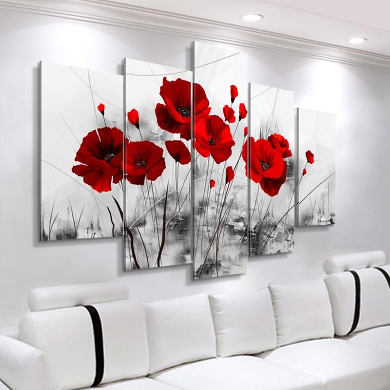 لوحات حديثة من القماش مكونة من 5 قطع من ملصقات الزهور المجمعة رسومات قماش الخشخاش الأحمر صور جدارية لغرفة المعيشة