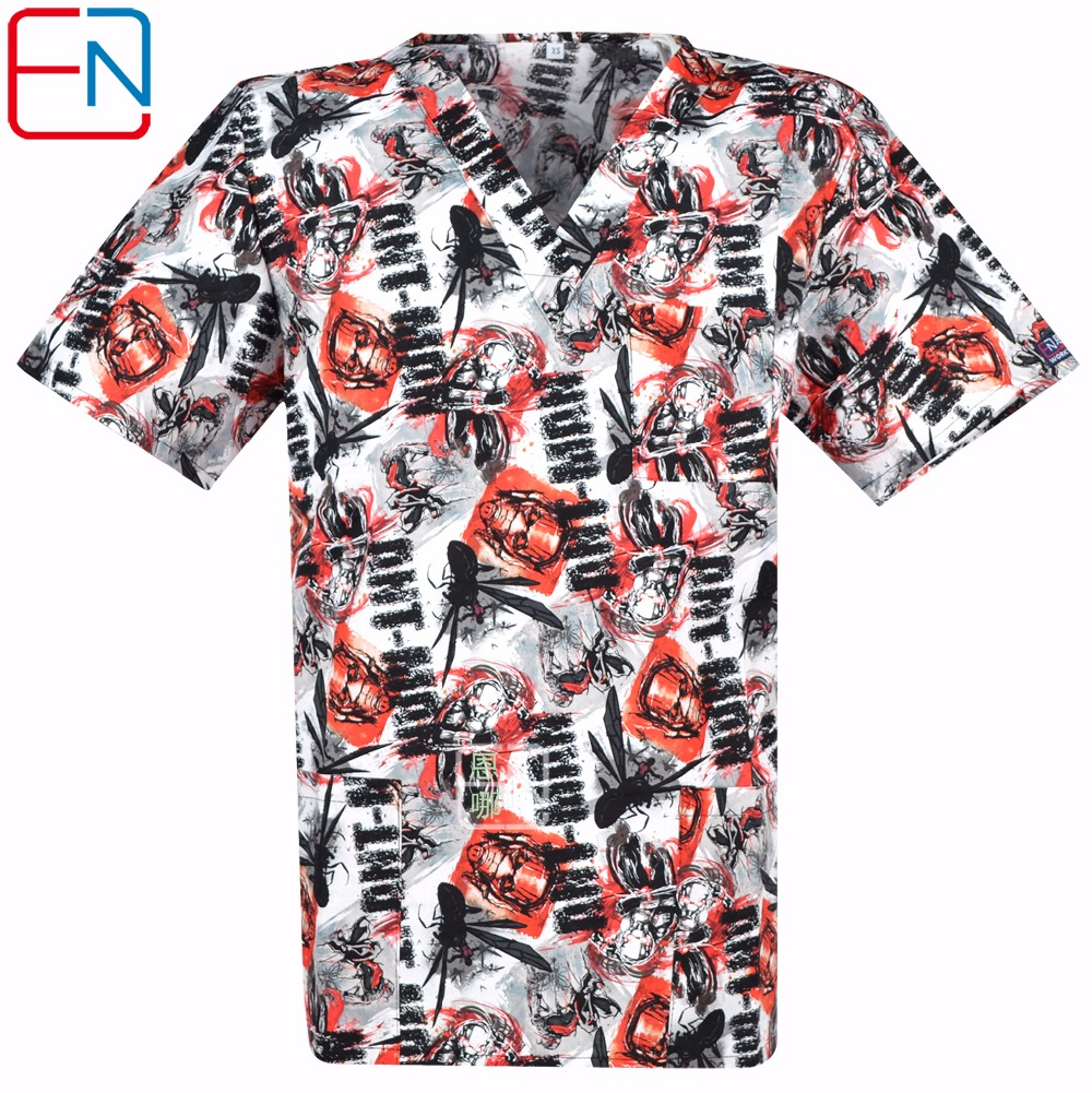 NEW 0104 Hennar Brand Men Medical Scrub Top 100% Cotton Medical Uniforms