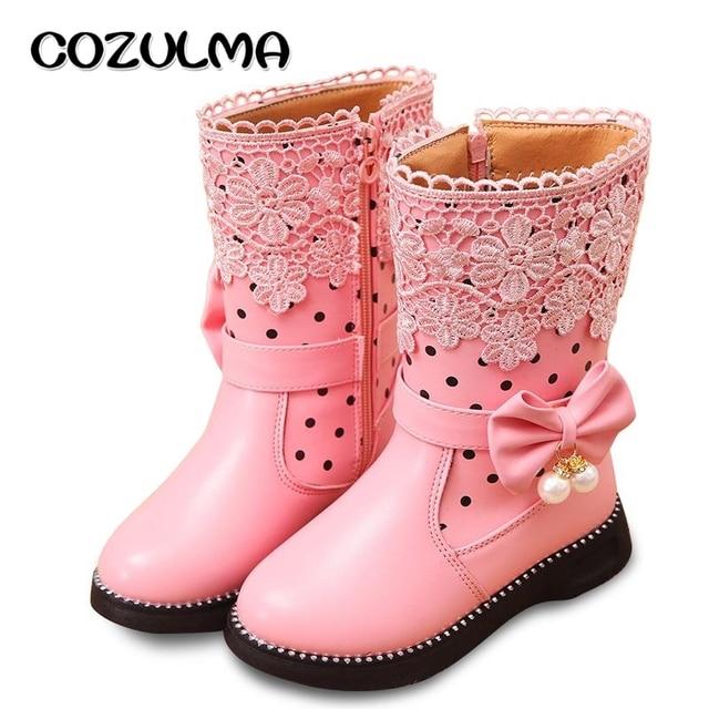 03b361d194e6 COZULMA Girls Shoes High Boots Kids Girls Fashion Boots Child Princess Snow  Boots Bowtie Lace Boots with Fur Plush Size EU 27-37