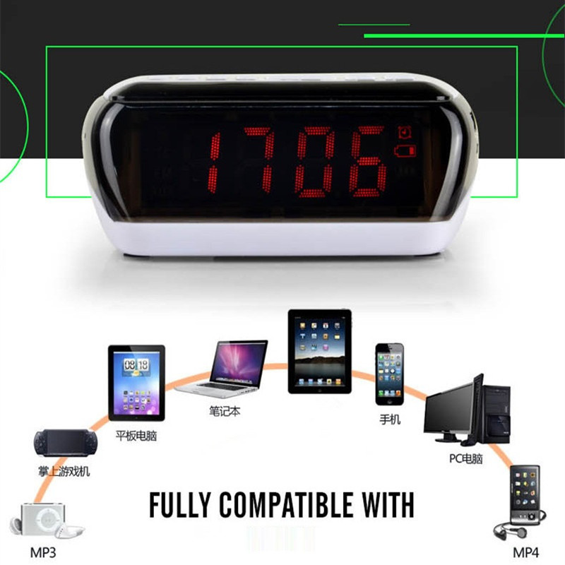 Mini Portable Dual Alarm Clock Bluetooth Stereo Speaker LCD Digital FM Radio Bluetooth Wireless Speaker Support TF For Computer (7)