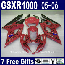 Hot Sale fairing kit for Injection mold SUZUKI GSXR 1000 05 06 K5 GSXR1000 2005 2006 black flames in red fairings set RR27