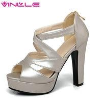VINLLE 2017 Woman Pumps Thick High Heel Sexy Peep Toe Black Gladiator Summer Women Shoes Zipper