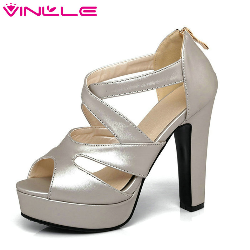 VINLLE 2017 Woman Pumps Thick High Heel Sexy Peep Toe Black Gladiator Summer Women Shoes Zipper Wedding /Dating Shoes Size 34-43 vinlle 2017 sweet rome style women pumps party summer shoes pointed toe square low heel lace up wedding woman shoes size 34 43