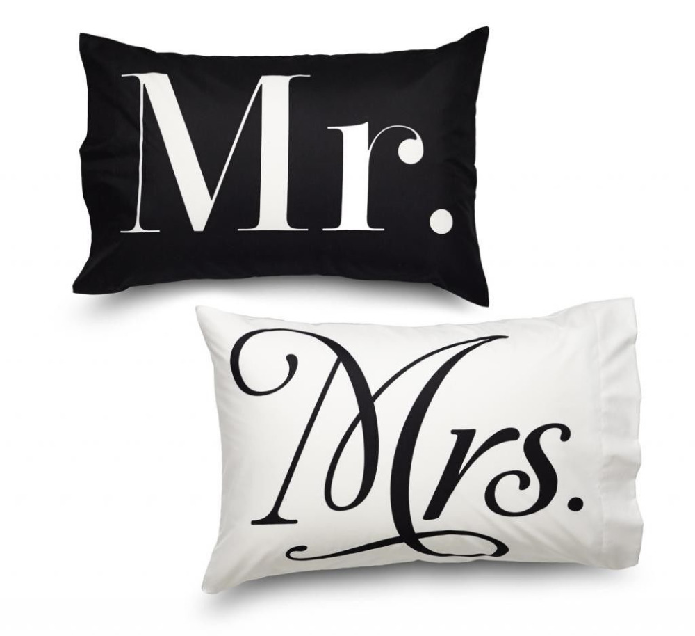 Personalized Mr And Mrs Pair Of Printed Pillow Cases Wedding Present