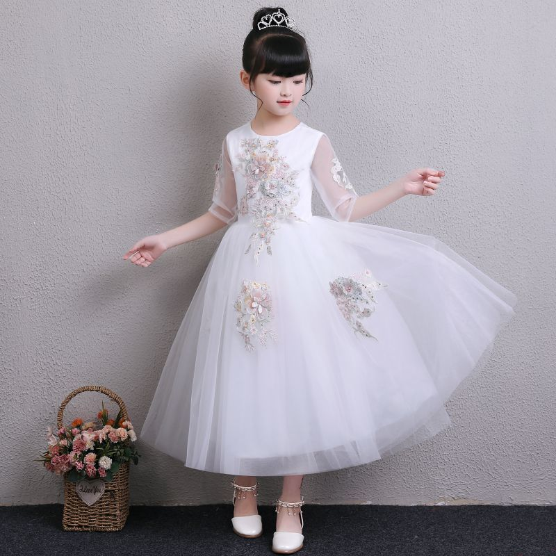 2018 Girl White Lace Princess Tutu Dress Wedding Appliques Christening Gown Girl Summer Clothes For Party First Communion Dress summer vintage lace dress sleeveless design sweet baby girl floral princess dress wedding christening gown dress girls clothes