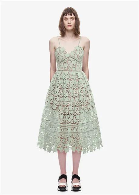 Summer Dresses Runway Luxury Women Sexy Spaghetti Strap Midi Lace Dress Crochet Backless Self Portrait Dress Vestidos H0119