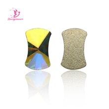 NUOYIMEIER 36pcs 5x8mm Crystal AB Non Hotfix Flatback Special Curvy Design DIY Rhinestones for Nails Shoes Decoration