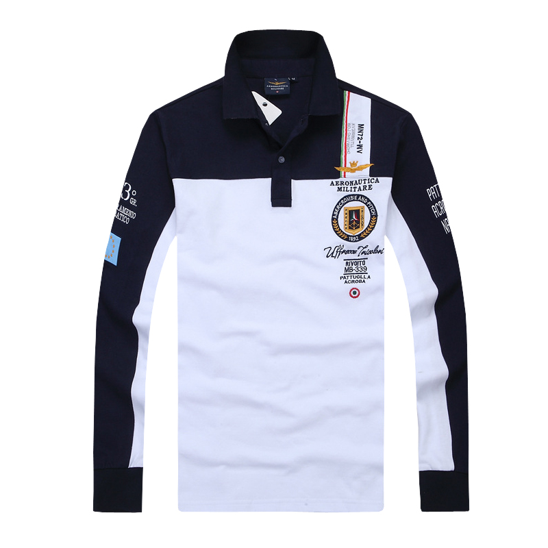 2019 Summer New Men Fashion   Polo   Shirt Embroidery Breathable 100% Cotton   Polo   Lapel Men Air Force One Long Sleeve   Polo   Shirt