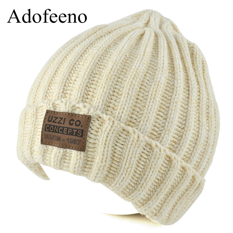 af05c6e8630 Adofeeno New Winter Skullies Beanies for Women Fashion Knitted Winter Hats  Solid Color Bonnet Cap Warm