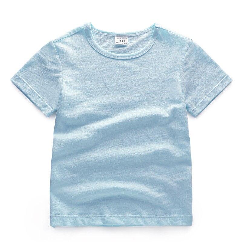 V-TREE; летние рубашки для мальчиков; хлопковые детские футболки; цветные топы для девочек; детская блузка с короткими рукавами; футболки для малышей; одежда для малышей - Цвет: solid green