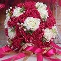 Flor Artificial Barato Boda Ramo Color de Rosa/Rojo/Blanco/Borgoña dama de Honor Nupcial de La Flor Rosa Ramo de Novia Buque de noiva