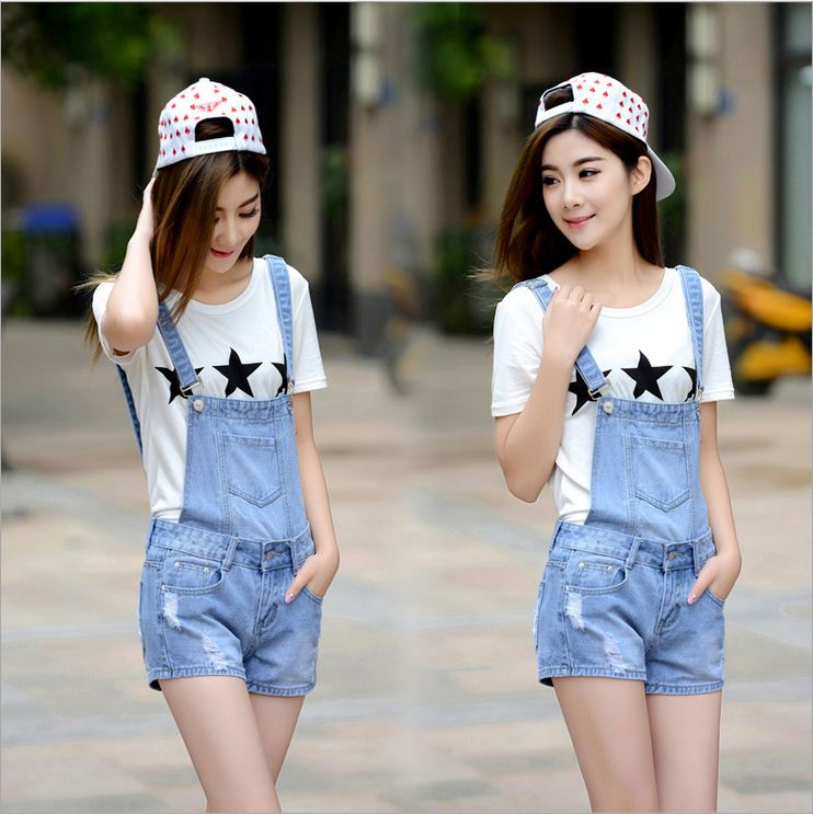 d0fc3272583 Distressed Washed Hole Denim Jumpsuit Romper For Women Denim Coverall  Playsuit Short Jeans Female Jeans Overalls Catsuit-in Rompers from Women s  Clothing on ...