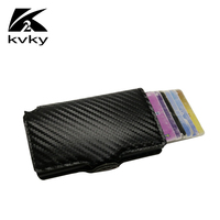 KVKY Hot Sale RFID Credit Card Holder Aluminum Mini Wallet Business Leather Men Purse Anti Theft Card Holder Protect Your Card