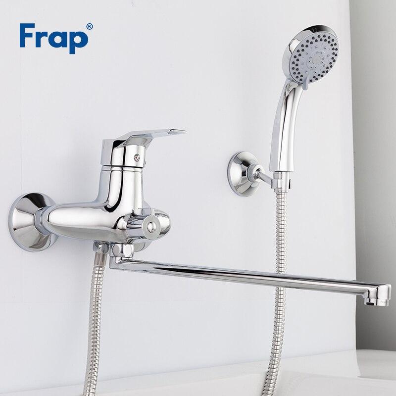 Frap Новое поступление 1 комплект Ванная комната кран хром закончил коснитесь 35 см вращения длинный нос холодной и горячей воды смеситель Одн...