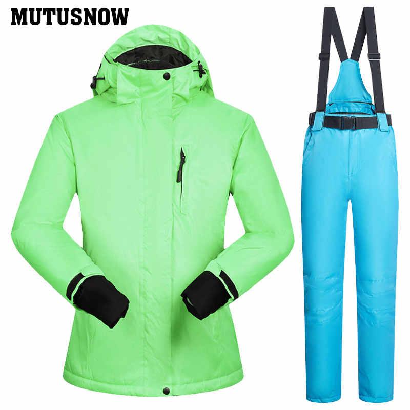 2019 Seluncur Salju Cocok untuk Wanita Musim Dingin Tahan Angin Tahan Air Wanita Jaket Ski dan Salju Celana Set Super Hangat Merek Wanita Ski Suit