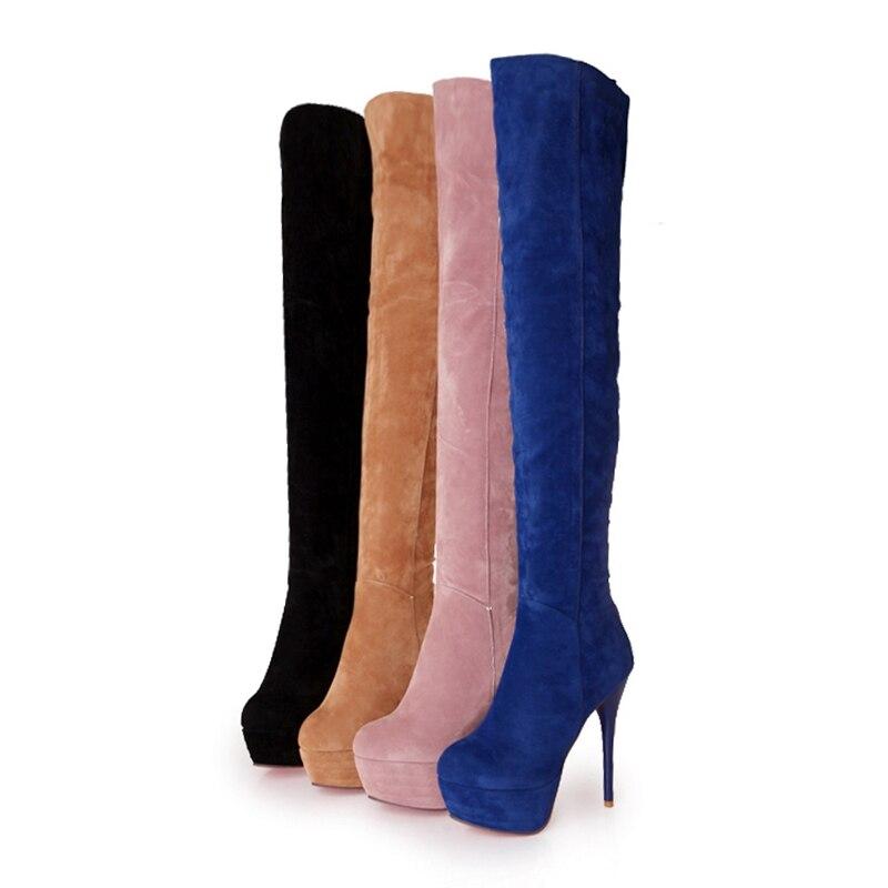Mujera1036 Caliente Rodilla yellow Zapatos Black Botas Tamaño Cat 32 Venta Altos Sobre Grande Primavera Plataforma pink 43 Del Mujeres Altas La Reave blue Muslo Mujer Tacones xq4C1Pwx