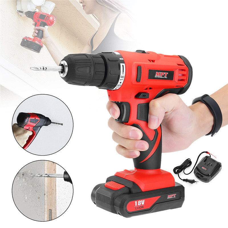 MPT MCDT1823.A2 DC 18V Cordless Drill Electric Drill Driver Lithium-lon Battery Screwdriver Drilling Machine Rotary Power Tools 18v dc lithium ion battery cordless drill driver power tools screwdriver electric drill with battery included