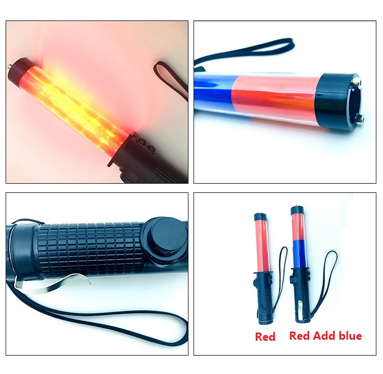 Rechargeable Honkingable Multi-function Outdoor LED Traffic Baton Flashing Warning Safety Persuation Tools Glo-sticks