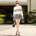 Европейской и Американской моды полосатый обрезанные вязать свитер + юбка из двух частей женские наборы осень новый 2016