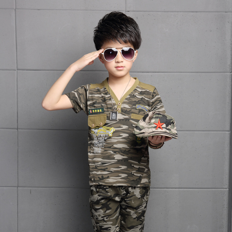 Boy V collar child camouflage suit pants in short sleeved two sets children's clothes