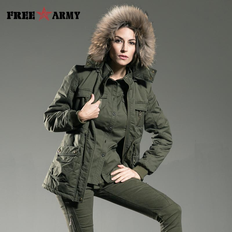 Winter Jacket Womens Slim Fit Fur Collar Long Cotton Padded Jacket Outerwear Coats Female Clothing Sent