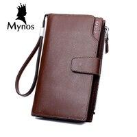 BAILLR 100 Cowhide Leather Men Wallet Big Capacity Zipper Long Wallet For Men Card Holder Business