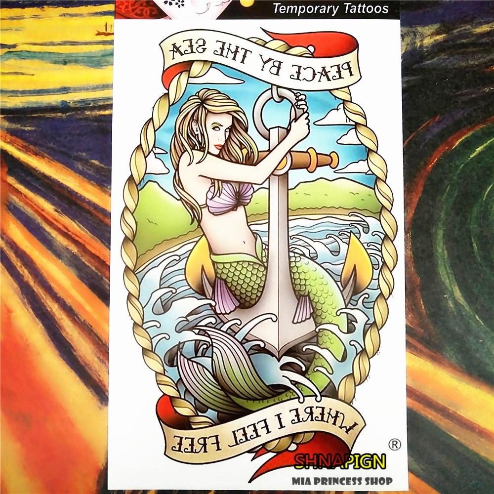 69bcbebcbf36d SHNAPIGN 12*20 cm Flash Tattoo Stickers Color Mermaid Temporary Tattoo Body  Art
