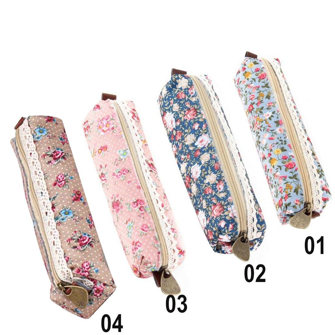 2017 school supplies Mini Retro Flower Floral Lace Case storage bag Cosmetic Makeup Bag Zipper Pouch