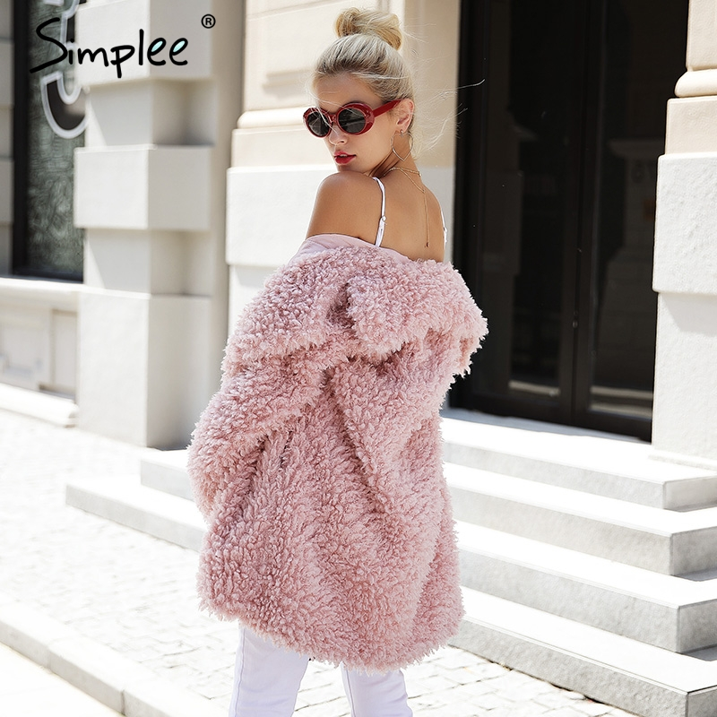 Simplee Chaud hiver faux manteau de fourrure femmes De Mode streetwear grandes tailles long manteau femelle 2018 Rose casual automne manteau survêtement - 3