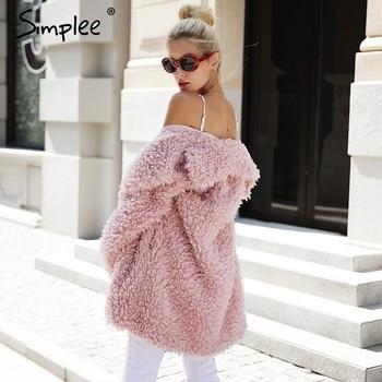Simplee Warm winter faux fur coat women Fashion streetwear large sizes long coat female Pink casual autumn coat outerwear