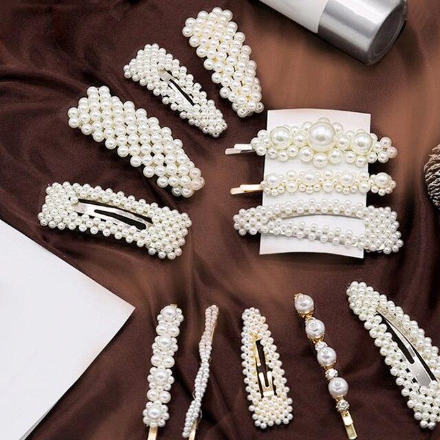 Thời trang Barrettes Phụ Nữ Ngọc Trai Tóc Clip Pins Cưới Trang Sức Phụ Kiện Mujer Hàn Quốc Phong Cách Vàng Hairwear Mũ Sắt Tập cho các Cô Gái