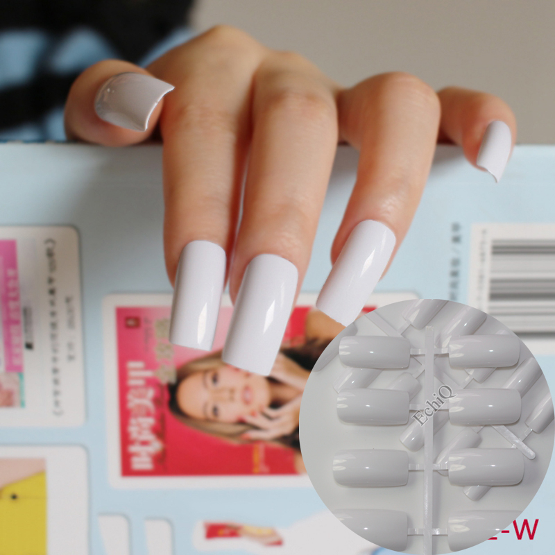 Ultra Long Acrylic Nail Tips White Flat Fake Nails Full Wrap French ...