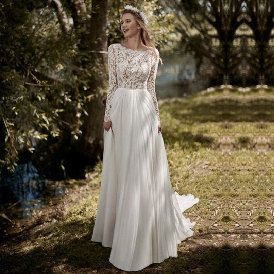 Long Sleeves Chiffon Skirt Wedding Dresses Lace Appliques Backless A Line With Sweep Train Bridal Dress Wedding Gown Gelinlik