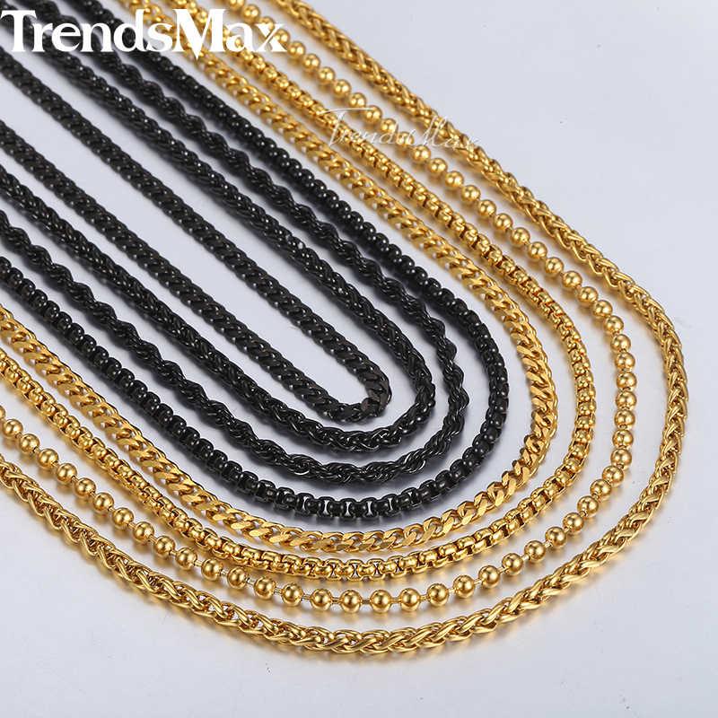 """18-36 """"ожерелье из нержавеющей стали для мужчин, пшеничная коробка, веревка, кубинская цепочка, золото, черное, 2018, модное длинное ожерелье, s, мужские ювелирные изделия, KNN3A"""