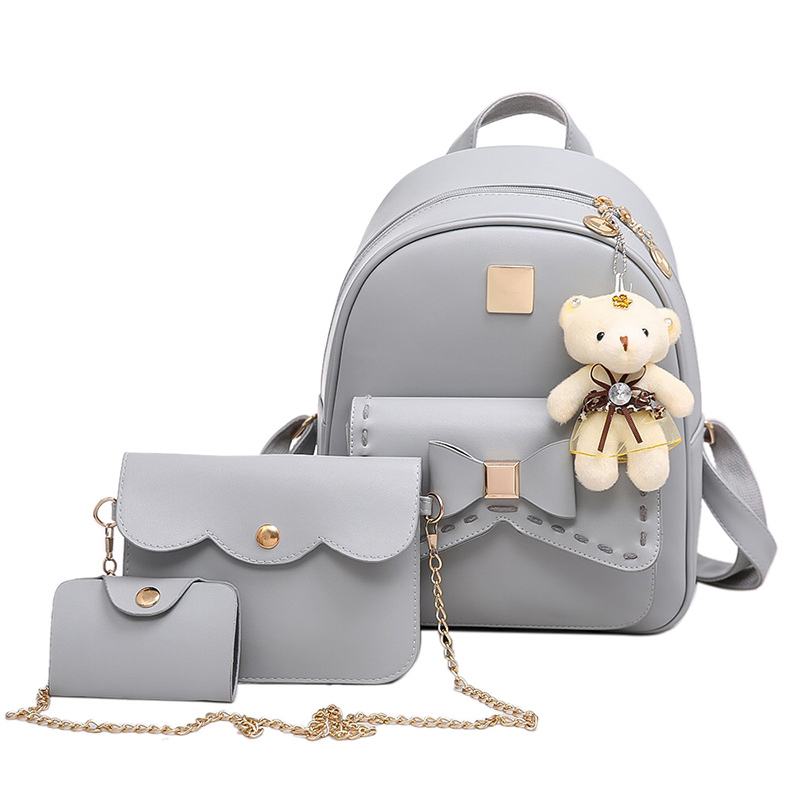 3pieces/lot Small Women Backpack Pu Leather Back Pack Fashion School Bags for Girls sac a dos femme with packet and Bear mochila