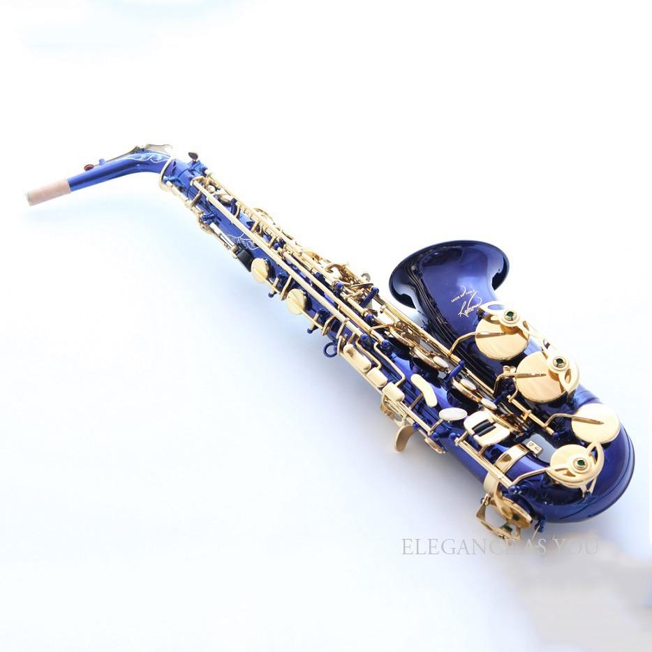 Blue gold lacquer falling tune Eb alto Sax instruments alto saxhorn professional performance brass F Saxophone bag sax cover professional alto sax saxophone black nickel body and gold keys abalone shell high f