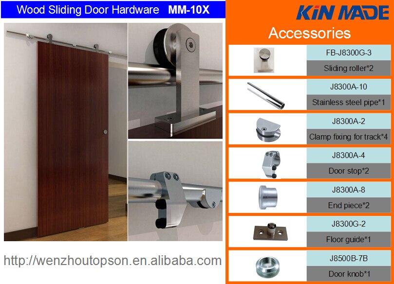 KIN FAIT MM10X Livraison gratuite + 6.6ft Top monté en bois coulissante grange porte ensemble complet kit de matériel (satin finition) - 3