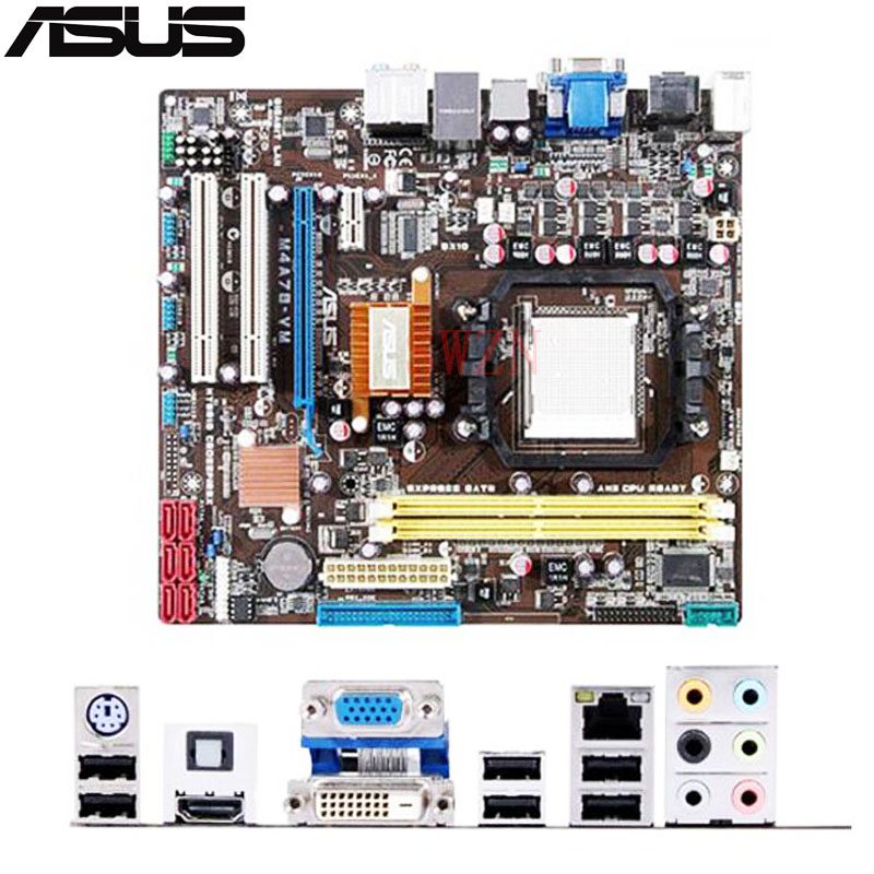 original Used Desktop motherboard For ASUS M4A78-VM A78 support Socket AM2/AM2+/AM3 2*DDR2 5*SATA2 uATX original used desktop motherboard for asus m4a88t m a88 support socket am3 4 ddr3 support 16g 6 sata2 uatx
