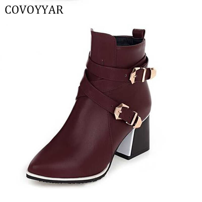2019 British Pointed Toe Ankle Boots Women Double Buckle Thick Heel Martin Military Boots Winter Autumn Lady Shoes WBS202