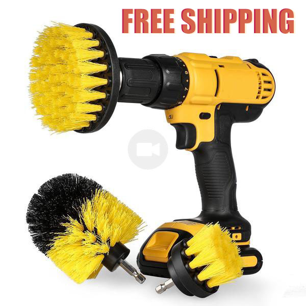 3pcs Power Scrubber Brush Drill Brush for Household   Rotating Drill Brush Scrub Bathroom Cordless Drill Attachment Cleaning Kit