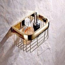 Аксессуары для ванной комнаты Полированный Золотой Цвет Латунь Настенный Держатель Рулона Туалетной Бумаги Ванная Комната Душ Корзина Хранения aba532