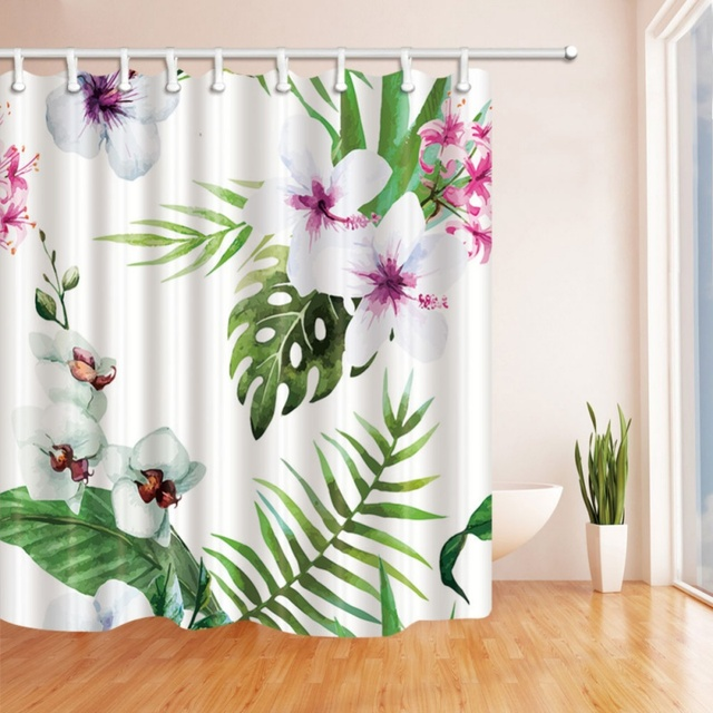 Waterproof Mildew Curtain Hooks Included Cactus Flower Pattern Shower Digital Printing Curtains