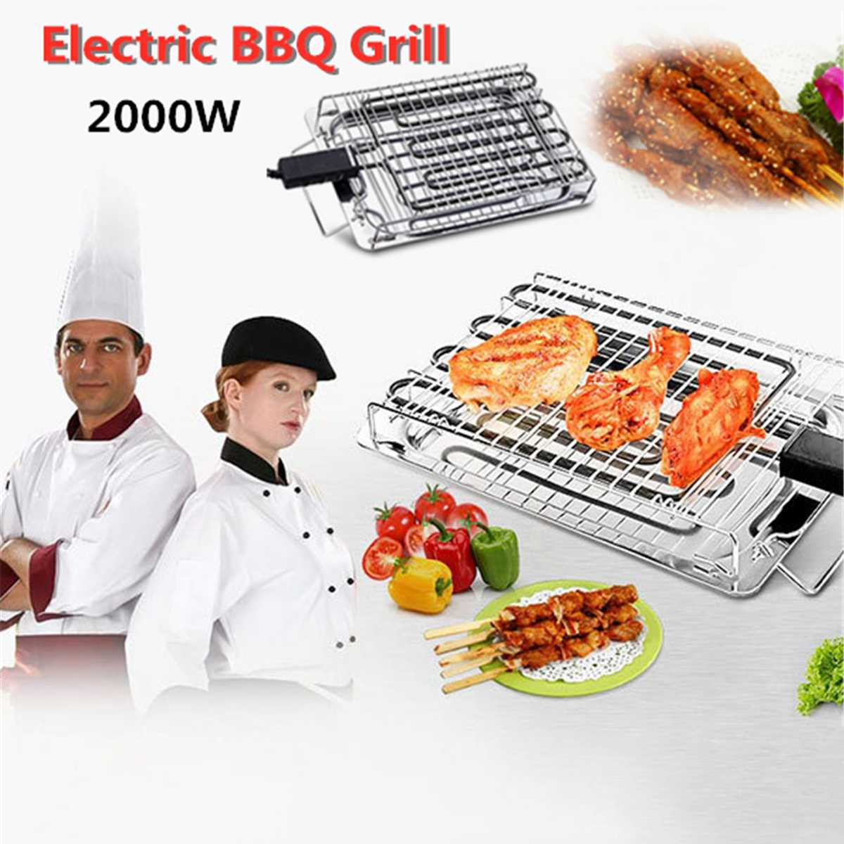 220V 2000W Electric BBQ Grills for 4 6 People Charcoal Grill Stainless Steel BBQ Grills Portable