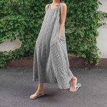 Женское летнее классическое клетчатое платье без рукавов большие
